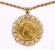 US gold coin and 14k yellow gold pendantnecklace