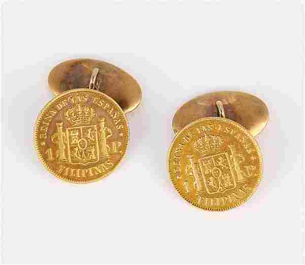 Pair of Filipino gold coin, 14k yellow gold cufflinks
