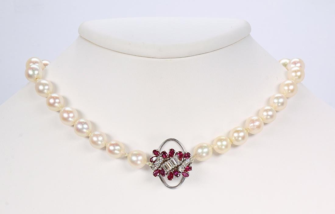 Ruby, diamond, cultured pearl, 14k white gold and