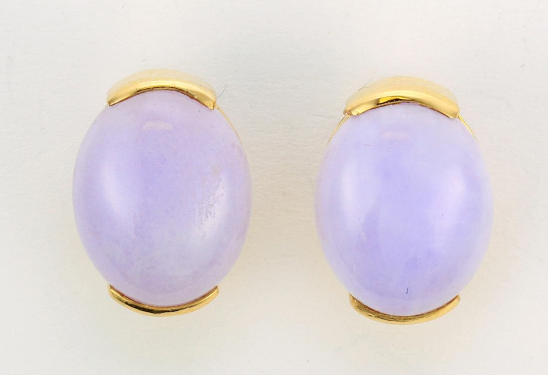 Pair of jadeite and 18k yellow gold earrings