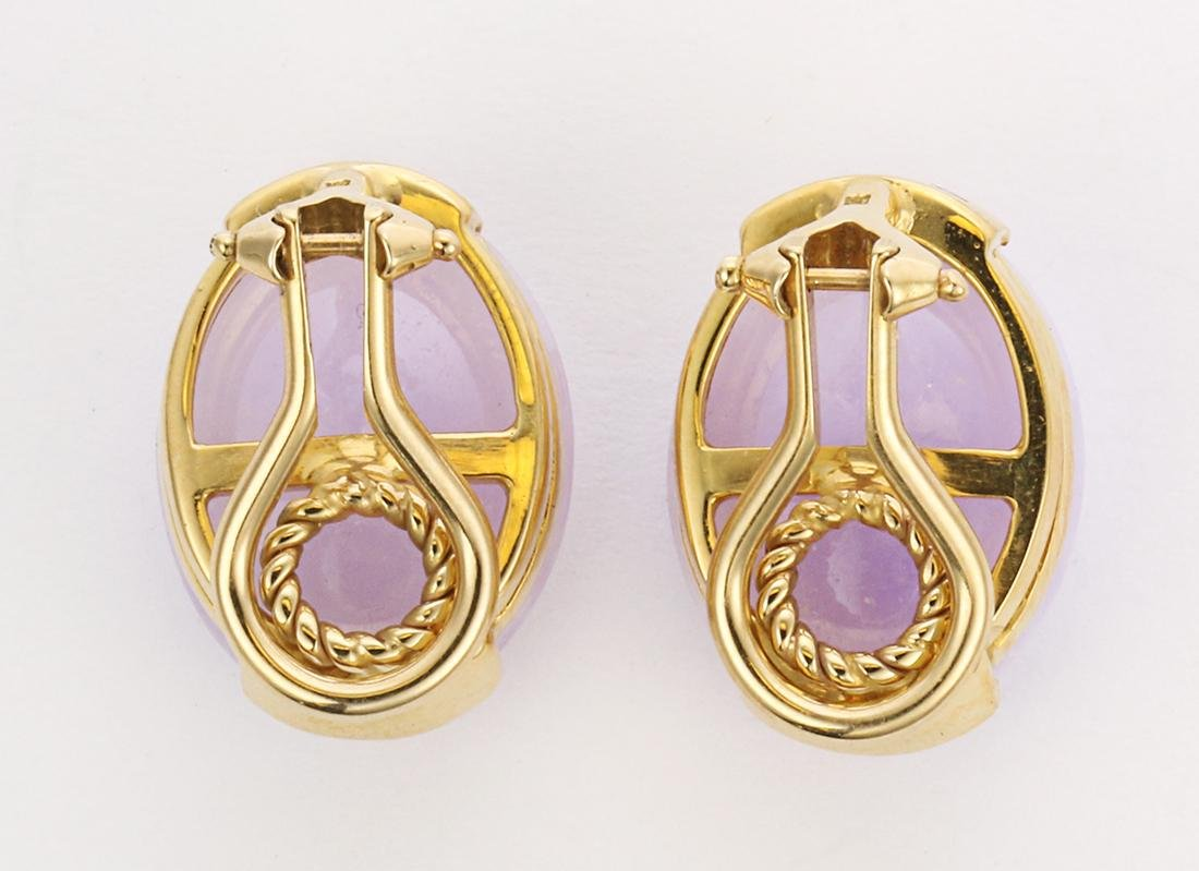 Pair of jadeite and 18k yellow gold earrings - 2
