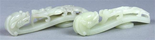 Two Chinese Jade Dragon Belt Hooks