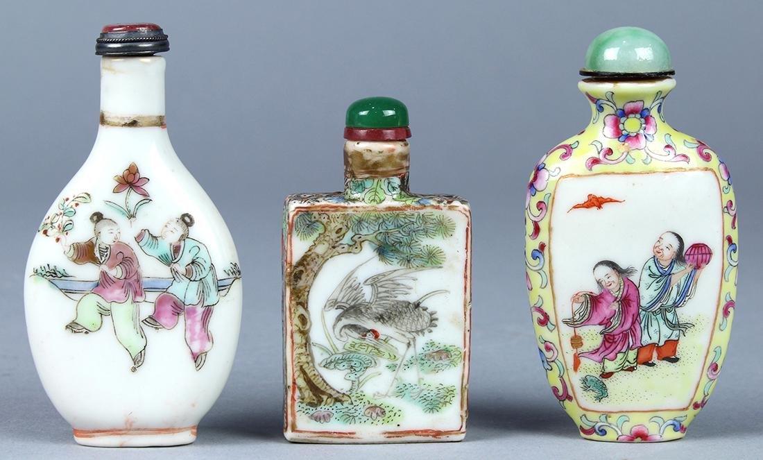 Chinese Enameled Porcelain Snuff Bottles, Figures