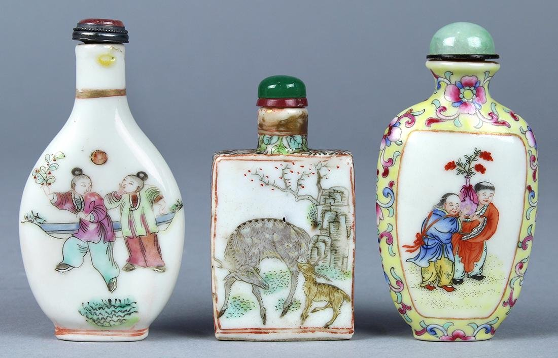 Chinese Enameled Porcelain Snuff Bottles, Figures - 3