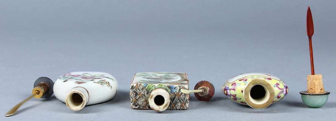 Chinese Enameled Porcelain Snuff Bottles, Figures - 4
