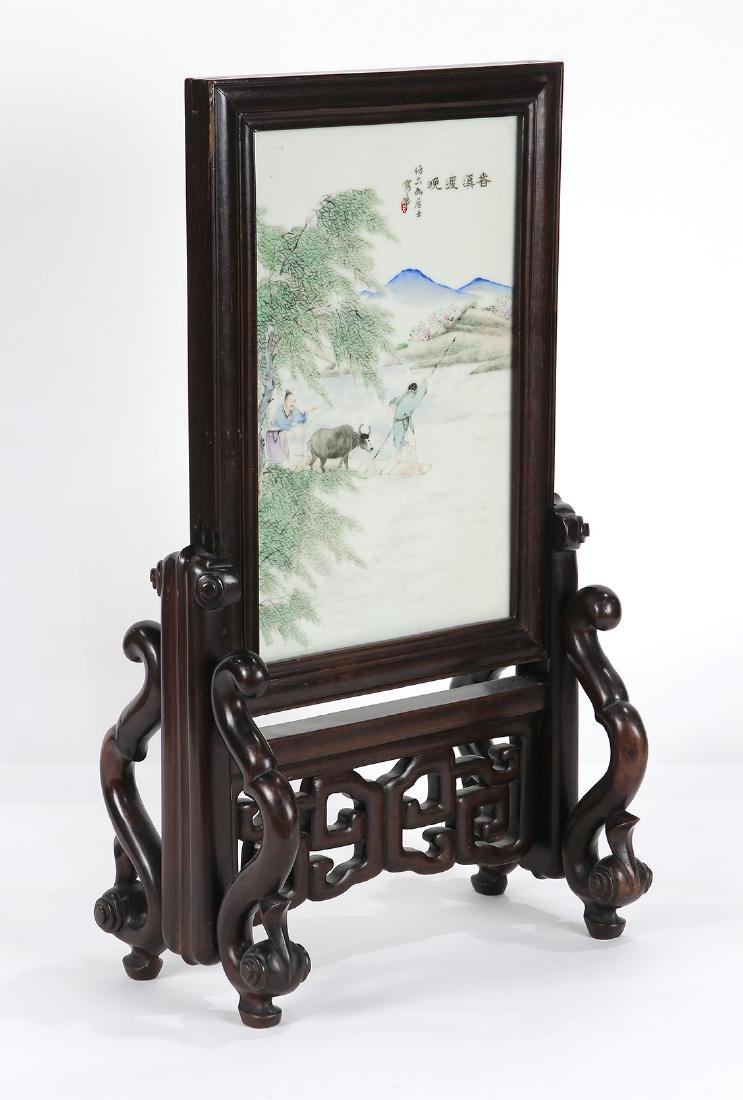 Chinese Porcelain Table Screen, Herder and Ox - 2
