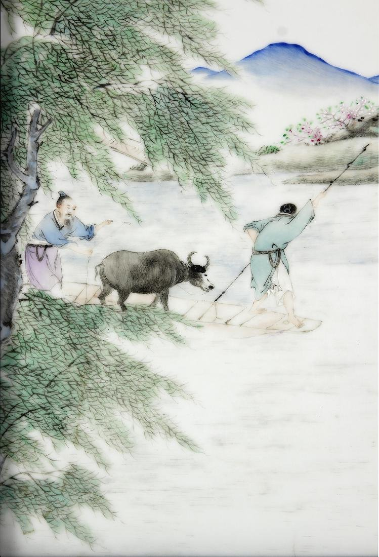 Chinese Porcelain Table Screen, Herder and Ox - 4