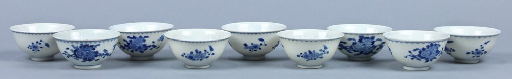 Chinese Blue-and-White Porcelain Cups, Flowers - 2