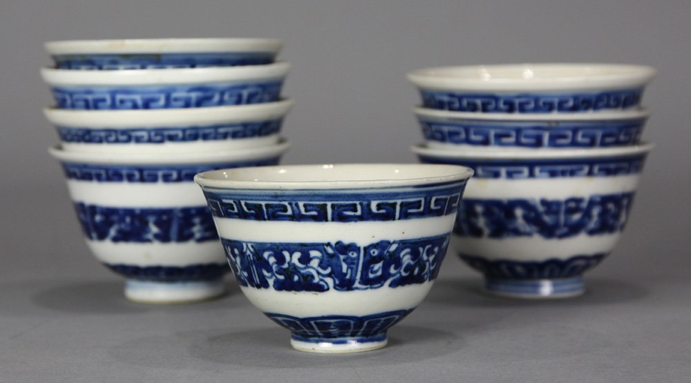 Chinese Blue-and-White Cups, Stylized Dragons