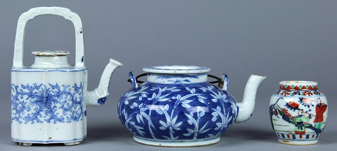 Chinese Blue and White Porcelain Teapots, Wucai Jarlet - 4