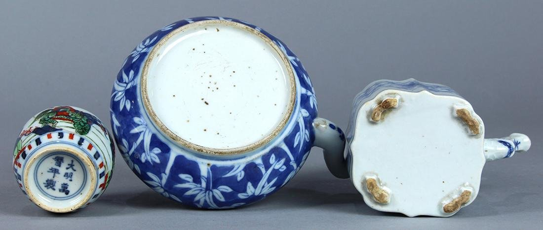 Chinese Blue and White Porcelain Teapots, Wucai Jarlet - 6