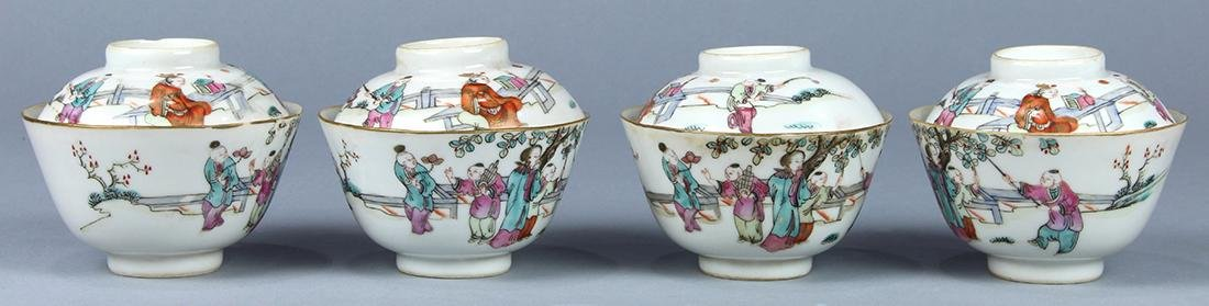 Chinese Lidded Porcelain Cups, Figures