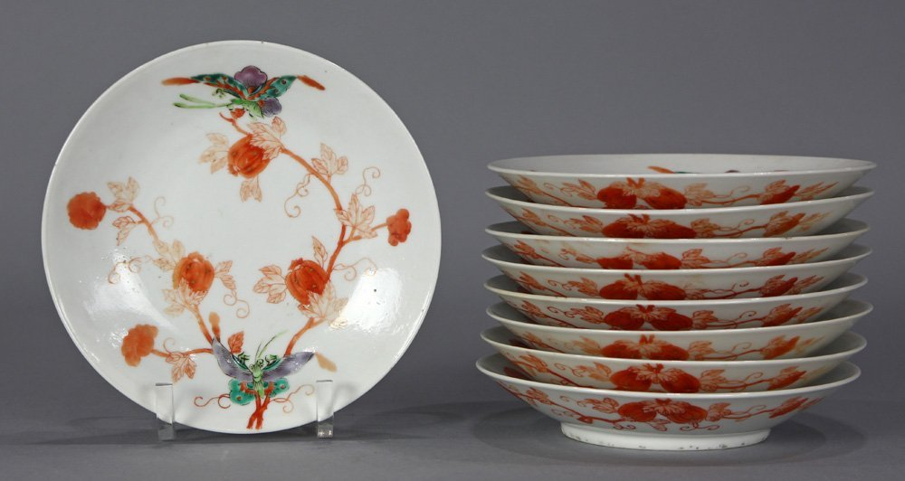 Chinese Porcelain Plates, Butterflies/Melons