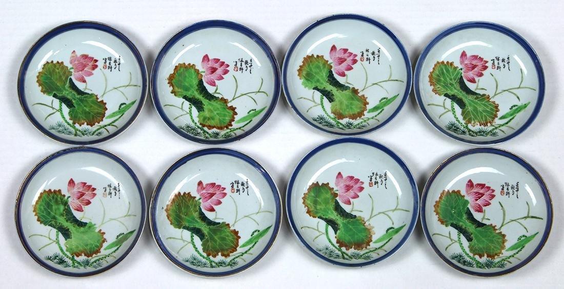 Chinese Porcelain Plates, Enameled Lotus