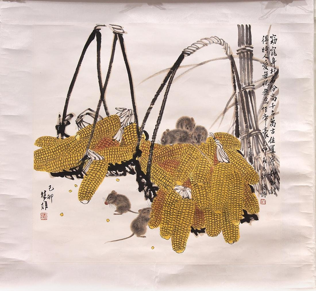 Chinese Painting, Attr Fang Chuxiong, Mice and Corn