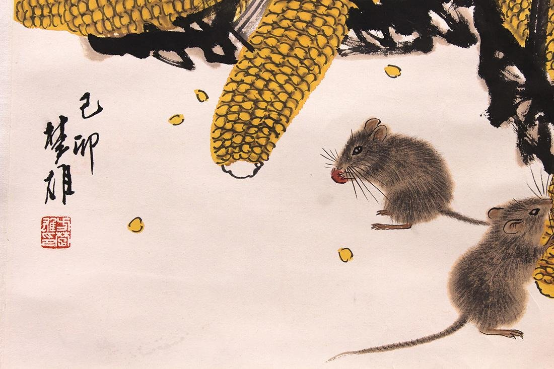 Chinese Painting, Attr Fang Chuxiong, Mice and Corn - 3