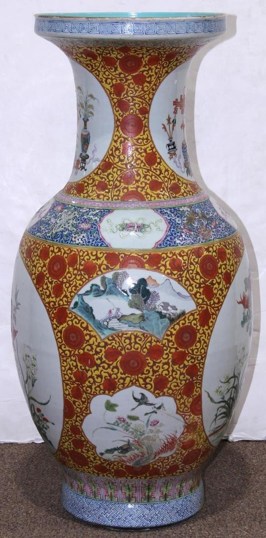 Chinese Large Enamel Yellow Porcelain Vase with - 2