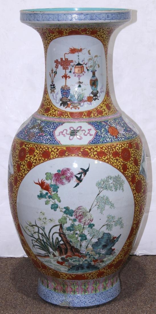 Chinese Large Enamel Yellow Porcelain Vase with - 3
