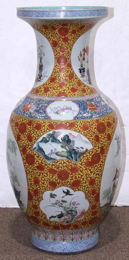 Chinese Large Enamel Yellow Porcelain Vase with - 4