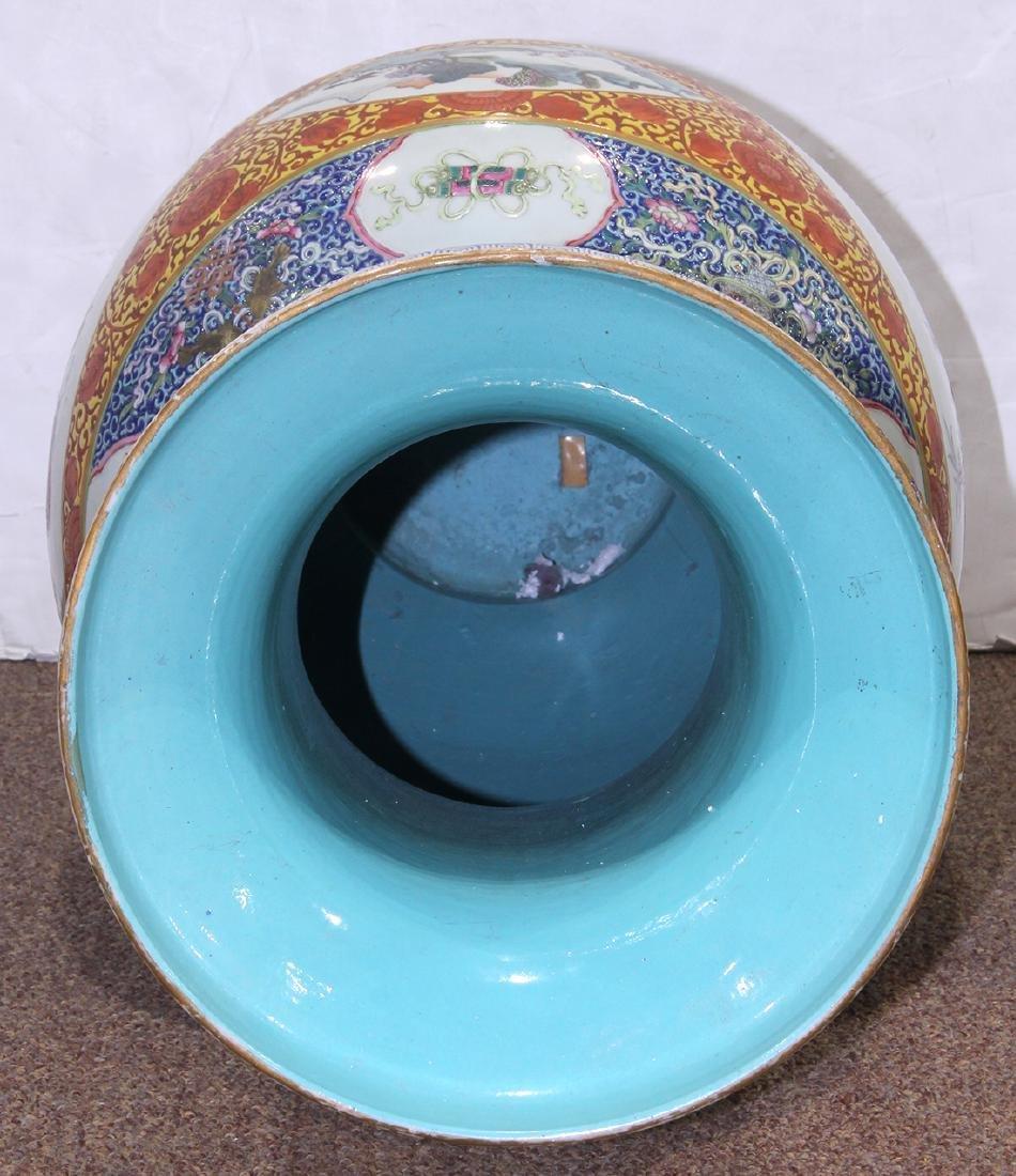 Chinese Large Enamel Yellow Porcelain Vase with - 5