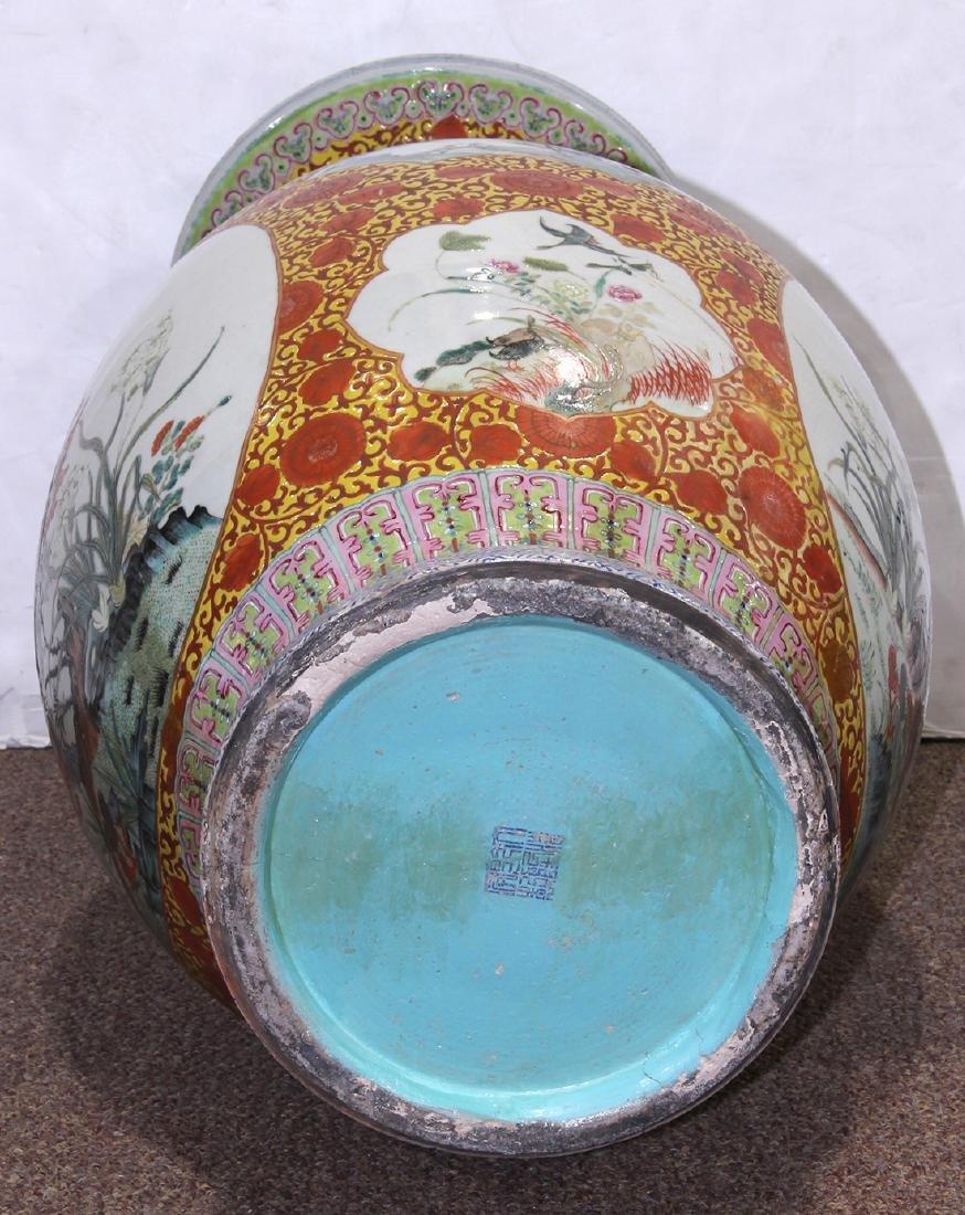 Chinese Large Enamel Yellow Porcelain Vase with - 6