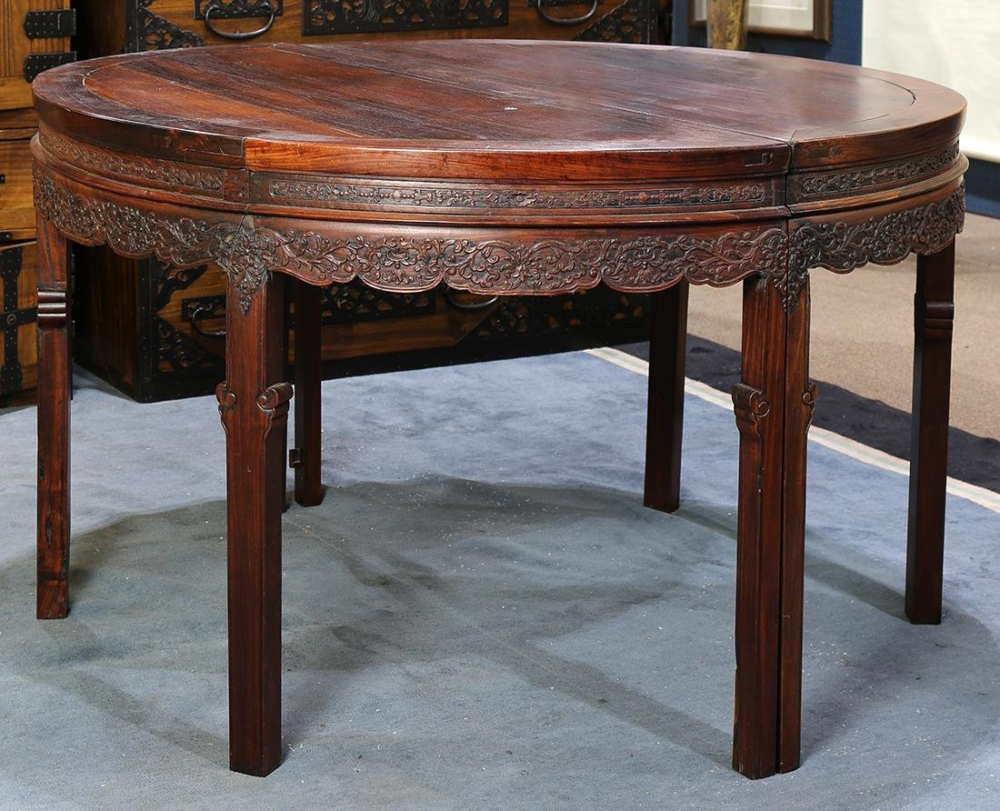 Chinese Pair of Demi-lune Tables