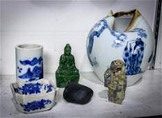 Chinese Decorative Stone Items, Blue-and-White