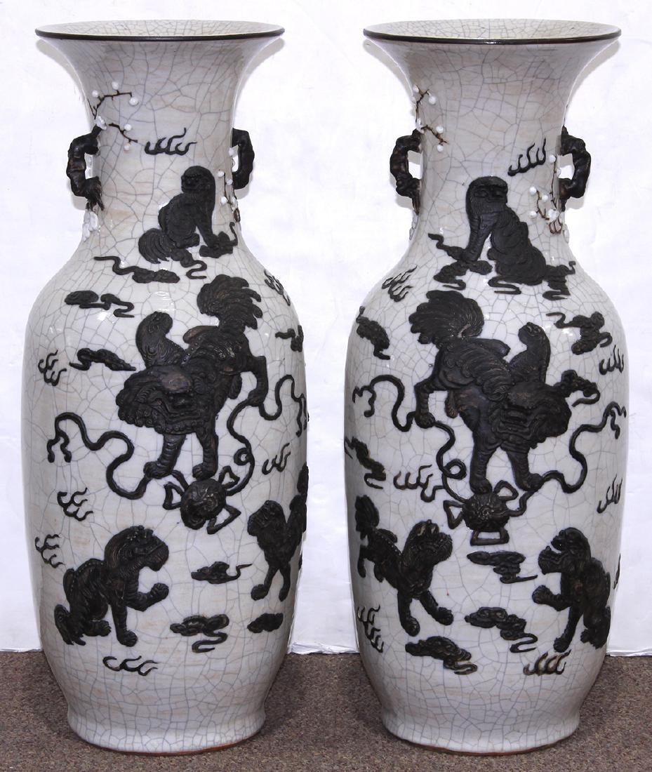 Chinese Crackle Glazed Porcelain Vases, Fu-lions