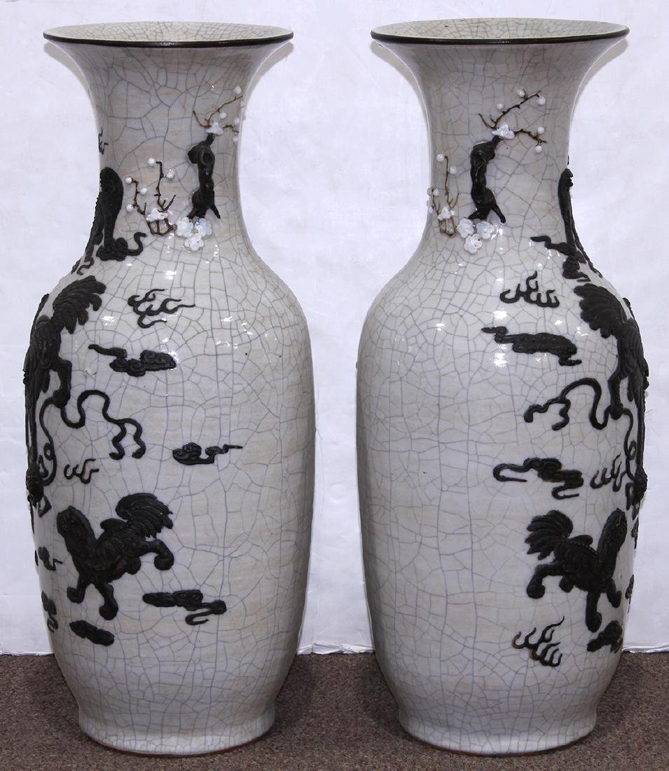 Chinese Crackle Glazed Porcelain Vases, Fu-lions - 2