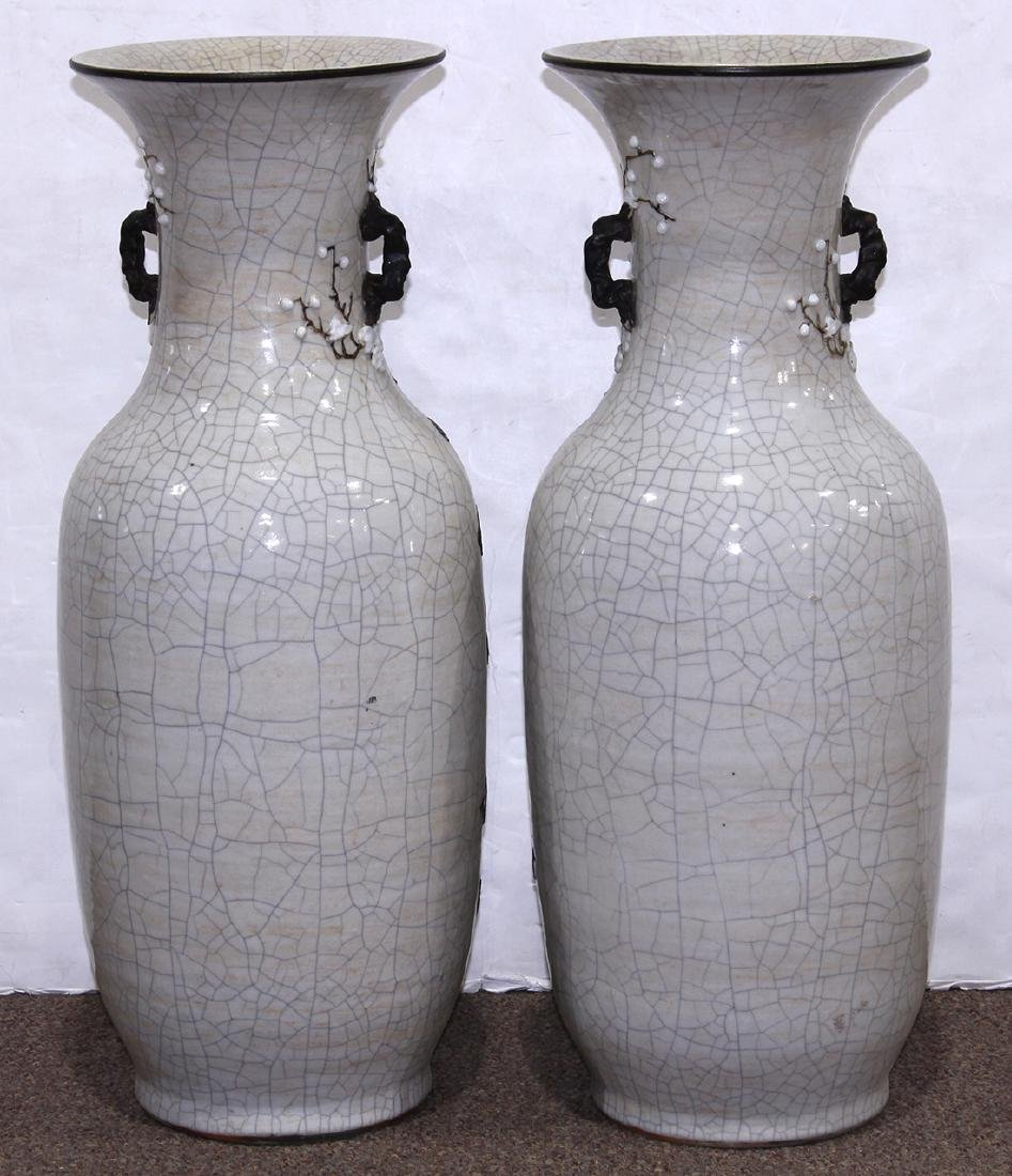 Chinese Crackle Glazed Porcelain Vases, Fu-lions - 3