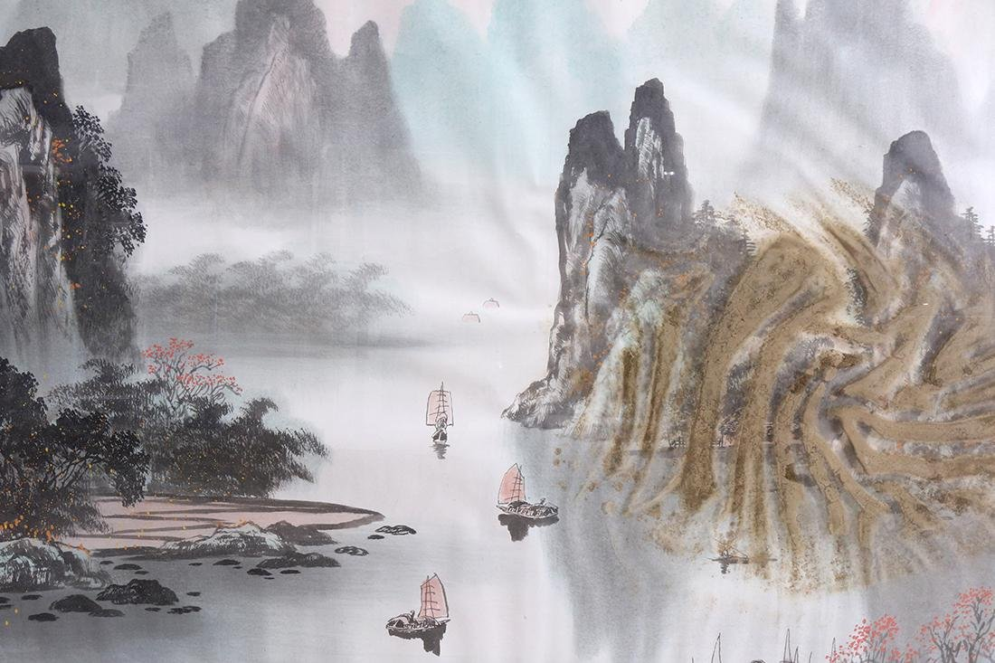 Chinese Large Framed Landscape Painting - 2