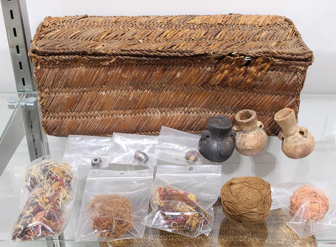 Reed rectangular weaving basket group, Chancay, Central - 3