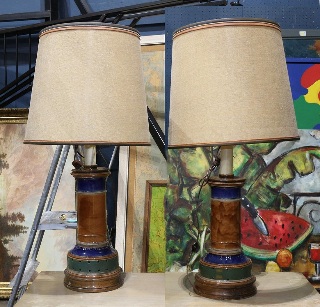 Pair of Modern ceramic table lamps, each having a