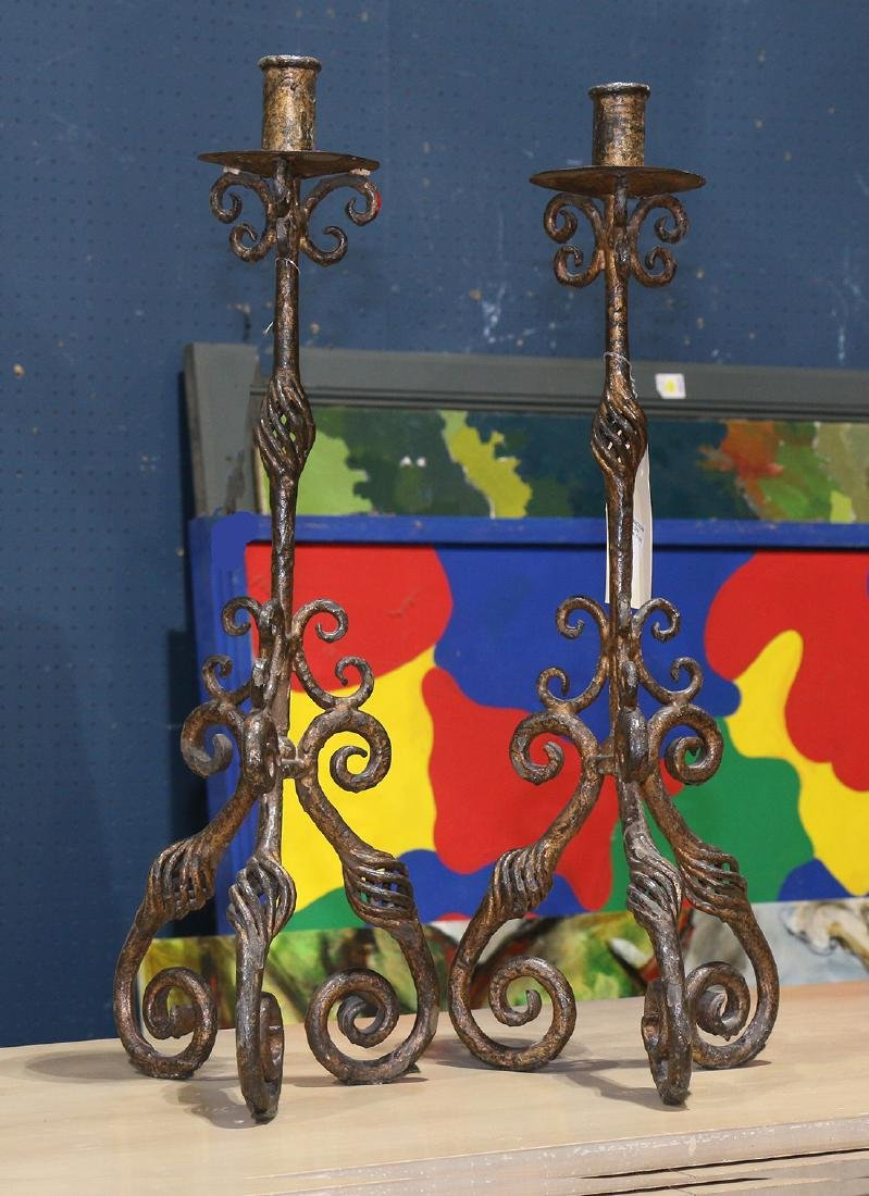 Pair of Spanish Colonial style candle holders