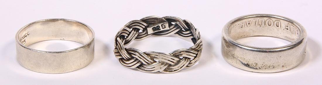 (Lot of 3) Sterling silver and silver band rings
