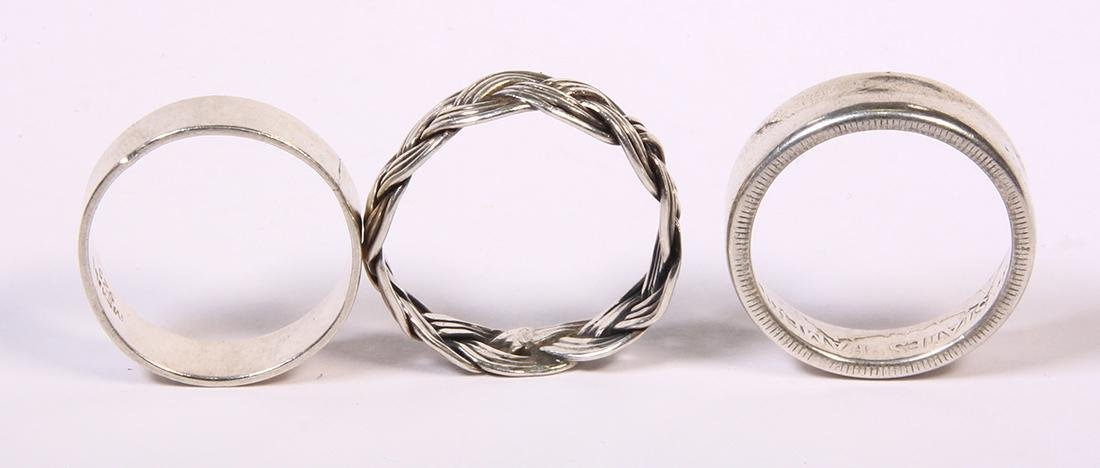 (Lot of 3) Sterling silver and silver band rings - 2