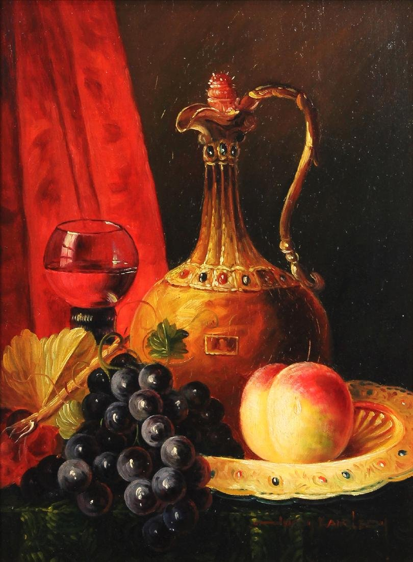 Painting, Still Life with Wine and Fruit