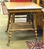 4112: Victorian quartersawn oak tea table