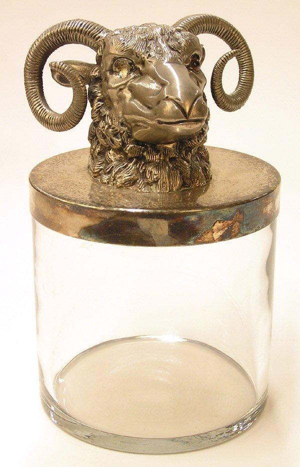 6018: Rams head Glass humidor Mika