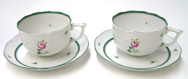 6021: Herend oversize soup cups underplates