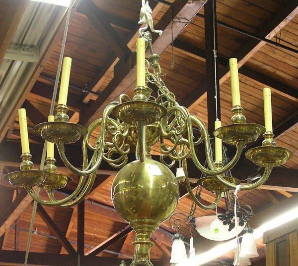 6270: Dutch brass hanging chandelier