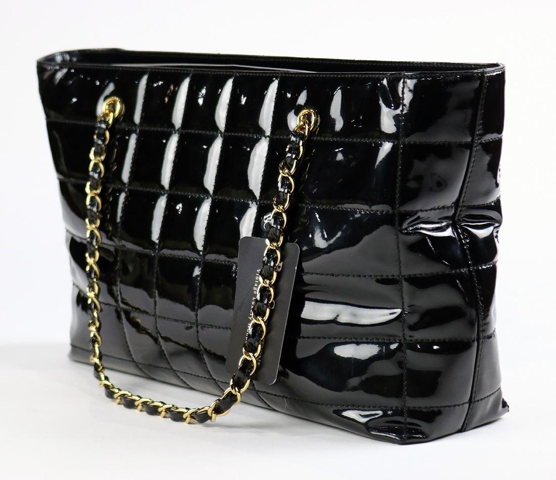Chanel black patent leather tote bag