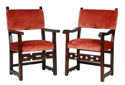 Pair of Continental Baroque style walnut armchairs