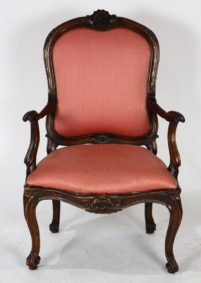 Italian Rococo walnut fauteuil