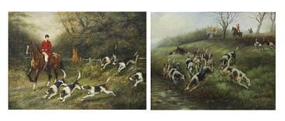Paintings, British School , Equestrian Hunting Scenes