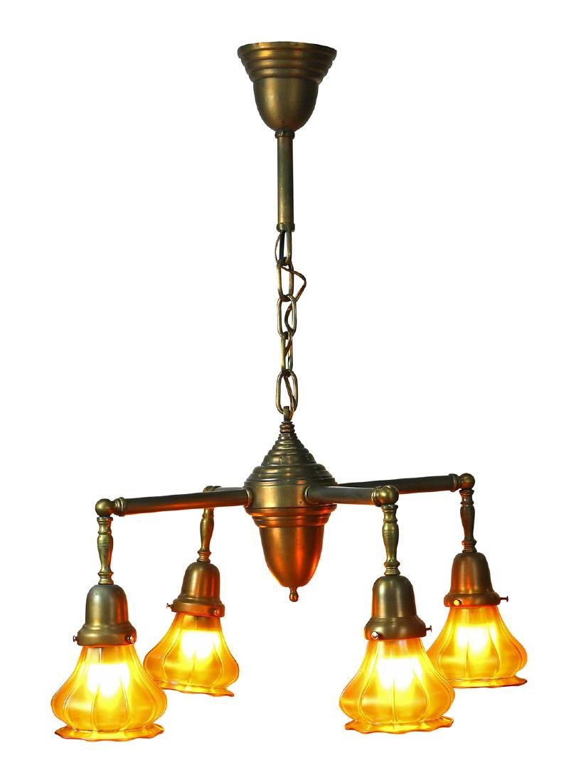 Arts and Crafts hanging light fixture with Steuben