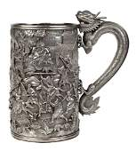 Chinese export sterling silver and gilt wash tankard
