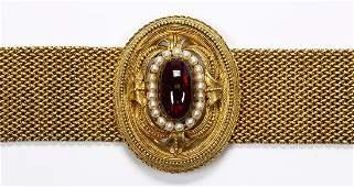 Victorian Etruscan Revival almandine garnet, seed pearl