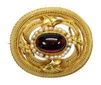 Victorian Etruscan Revival almandine garnet seed pearl