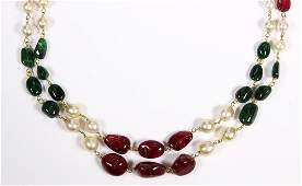 Tourmaline emerald cultured pearl and 18k yellow gold